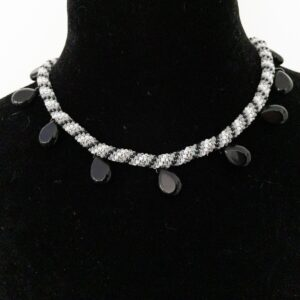 Santa Fe Marketplace Black, Grey and Silver Beaded Necklace with Onyx Teardrops