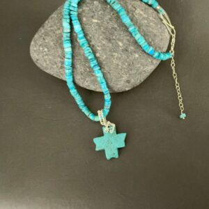 Santa Fe Marketplace Turquoise Necklace with Magnesite Cross
