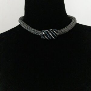 Santa Fe Marketplace Grey Leather Necklace with Beaded Focal