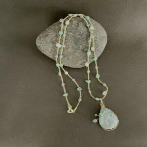 Santa Fe Marketplace Larimar Necklace with Silver Wrapped Larimar Pendant