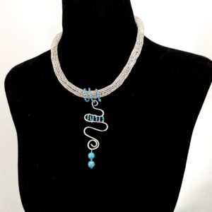 Santa Fe Marketplace Silver Necklace with Turquoise Beaded Pendant