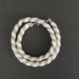 Santa Fe Marketplace Silver Gold and White Hand Beaded Bracelet