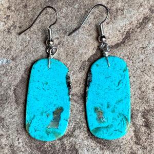 Santa Fe Marketplace Turquoise Slab Dangle Earrings