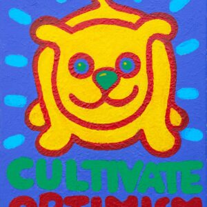 Santa Fe Marketplace size xl or small yellow dog Tee Cultivate Optimism  copyright Hillary Vermont