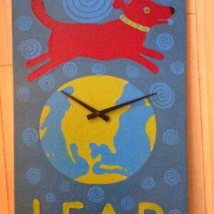 Santa Fe Marketplace Leap of Faith painted clock 23″ high copyright Hillary Vermont