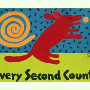 Santa Fe Marketplace Red Dog Art, Every Second Counts art print copyright Hillary Vermont