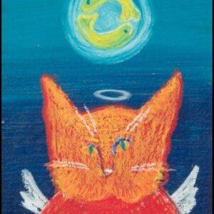 Santa Fe Marketplace orange cat Angel Kitty 8.5″ x 11″ giclee print