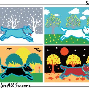 Santa Fe Marketplace Art Print, Blue Dog, White Dog, Black Dog, Red Dog, All Seasons copyright Hillary Vermont