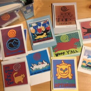 Santa Fe Marketplace Any Four Art Card Designs, hand made, Doggy and Kitty c Hillary Vermont