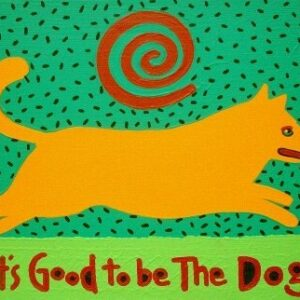 Santa Fe Marketplace yellow dog It's Good to be The Dog giclee copyright Hillary Vermont