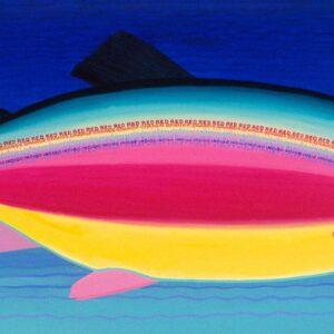 Santa Fe Marketplace The Rainbow Trout 6 feet w x 3 feet h Original Acrylic Painting copyright Hillary Vermont