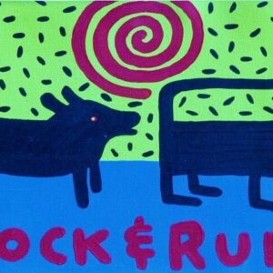 Santa Fe Marketplace Rock and Rule , black dog and cat art print  copyright Hillary Vermont