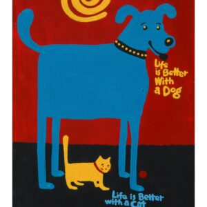 Santa Fe Marketplace Blue dog, yellow cat art, Painting, Life is Better With a Pet, copyright Hillary Vermont