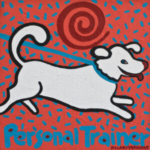 Santa Fe Marketplace Commission Your Personal Trainer 12″x12″ acrylic on canvas  copyright Hillary Vermont