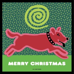 Santa Fe Marketplace 4 Merry Christmas, red dog note cards c Hillary Vermont