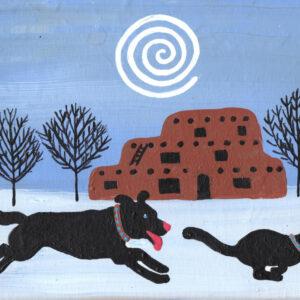 Santa Fe Marketplace Adobe Winter Print. Southwest or Santa Fe Scene. Black Cat  and Black Dog  frolicking c Hillary Vermont
