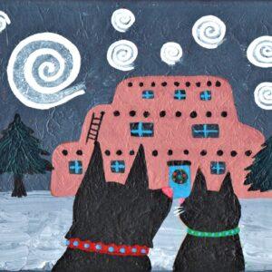 Santa Fe Marketplace Magical Santa Fe Winter print. Black dog and black cat. c Hillary Vermont