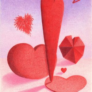 Santa Fe Marketplace Love Comes in All Sizes. Giclee print or 4 handmade note cards from original prismacolor drawing copyright Hillary Vermont