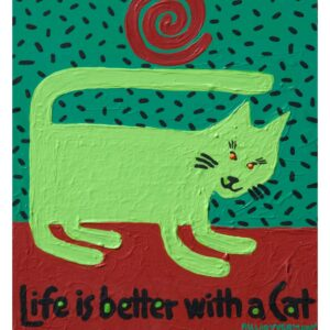 Santa Fe Marketplace green cat Life is Better With a Cat art print copyright Hillary Vermont