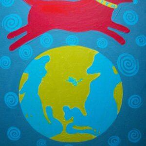 Santa Fe Marketplace Red Dog Leap, art  print 8.5″ x 11″ copyright Hillary Vermont