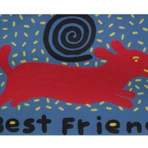 Santa Fe Marketplace Best Friend  red dog art print 8.5″ x 11″ copyright Hillary Vermont