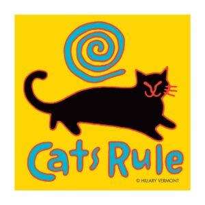 Santa Fe Marketplace Print, Cats Rule, black cat copyright Hillary Vermont