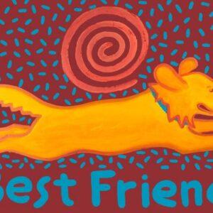 Santa Fe Marketplace YOUR Best Friend custom acrylic painting 18″ x 24″ copyright Hillary Vermont