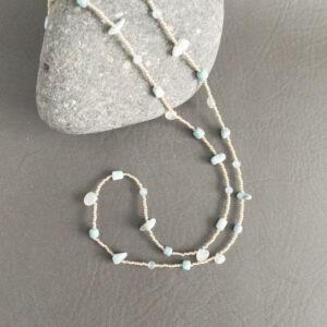 Santa Fe Marketplace Sky Blue Larimar, Aquamarine, and Moonstone Necklace