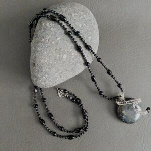 Santa Fe Marketplace Onyx Necklace with Handwoven Embellished Necklace