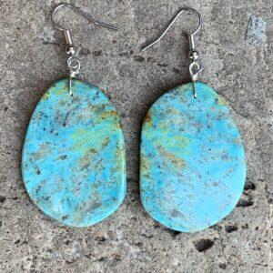 Santa Fe Marketplace Turquoise Round Slab Earrings