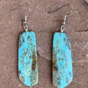 Santa Fe Marketplace Turquoise Long Slab Earrings