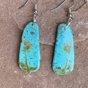 Santa Fe Marketplace Turquoise Long Slab Earrings 3