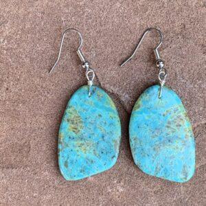 Santa Fe Marketplace Turquoise Rounded Slab Earrings