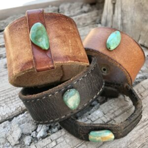 Santa Fe Marketplace Recycled Leather & Turquoise Cuff