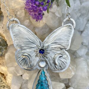 Santa Fe Marketplace Butterfly Necklace w/ Turquoise Moonstone Sapphire