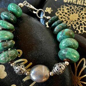 Santa Fe Marketplace Large Turquoise Disk Beads With Sterling Bracelet
