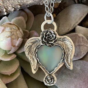 Santa Fe Marketplace Nova Opal Heart Wings Succulents Necklace