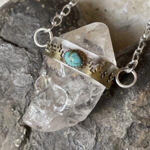 Santa Fe Marketplace Quartz Crystal Skull Necklace Turquoise Fire Bezel