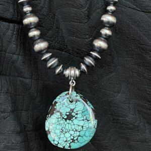 "Santa Fe Marketplace 18"" SS Oxidized Beads w Turquoise Pendant Necklace"