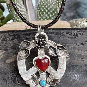 Santa Fe Marketplace Sterling Peace Rosarita Heart Necklace